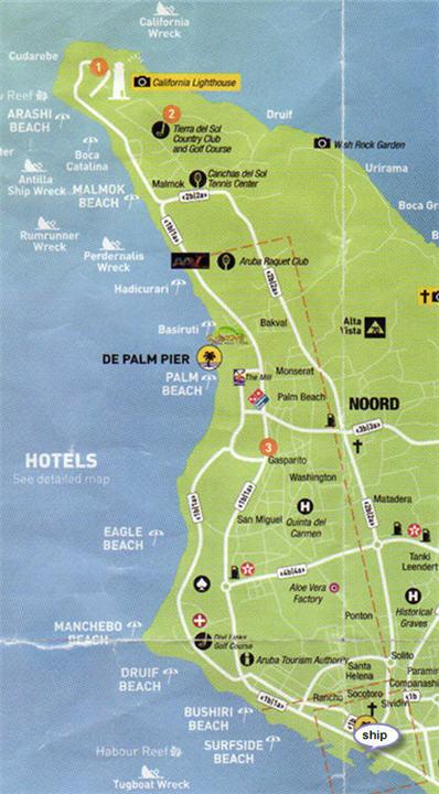 Map of Aruba Beaches